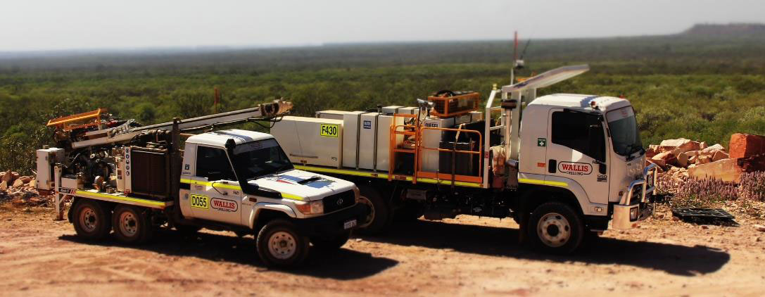 Wallis' air core drill rig and support vehicle The